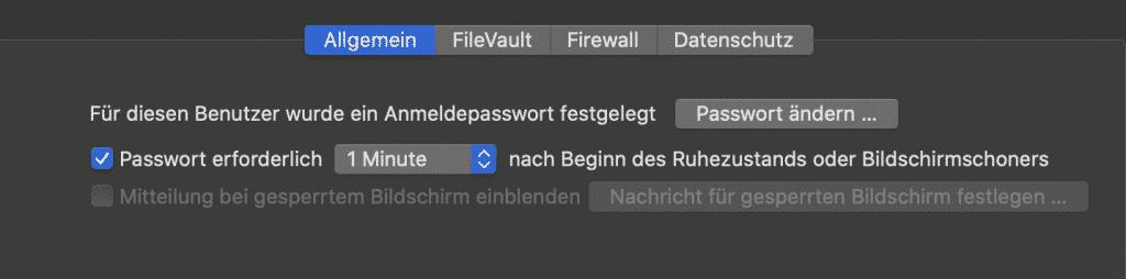 Passwortabfrage bei abgeschalteten Bildschirm ist der zweite Schritt Deinen Mac elegant zu sperren.