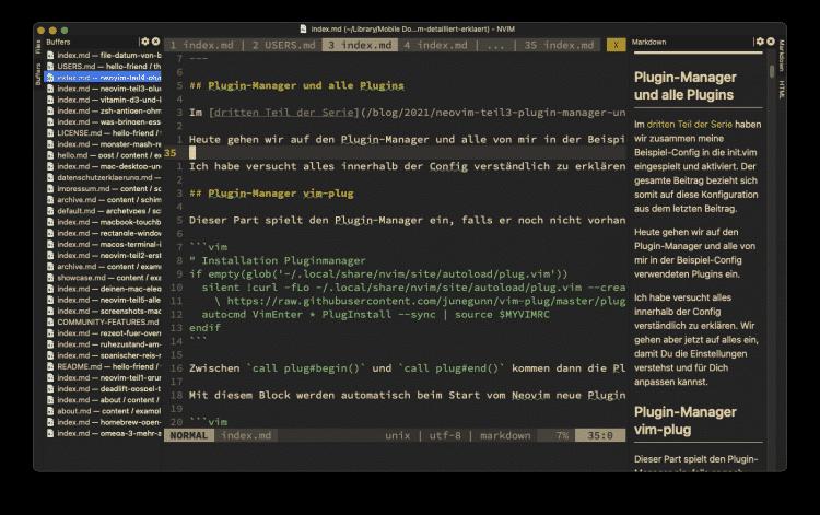 VimR mit gut 30 offenen Markdown-Files im Einsatz.